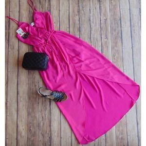 Everly Fuchsia Hi-Low Faux Wrap Dress Size Small
